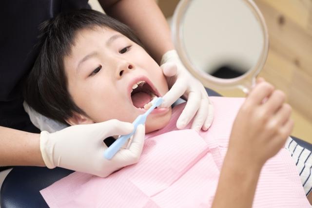 歯磨きされる